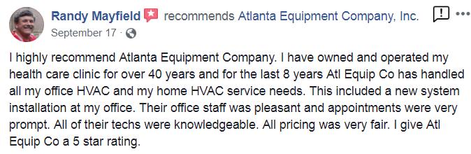 Atlanta Equip Co Testimonials